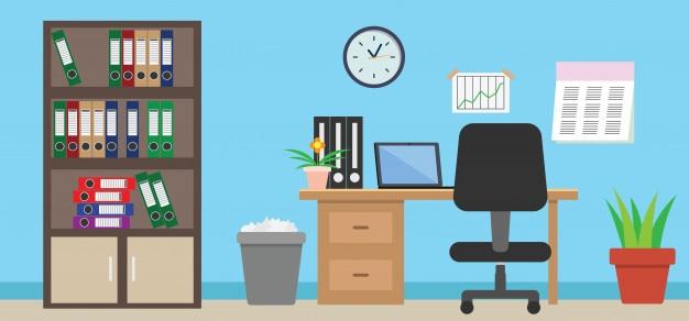 Lugar de trabajo interior moderno de la oficina