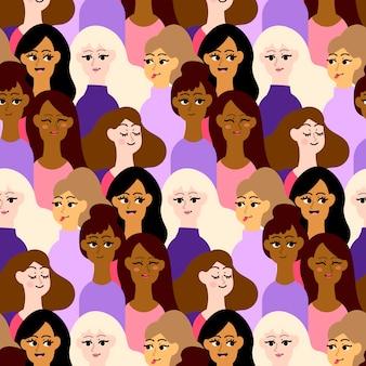 Lugar de patrón lleno de caras de mujeres