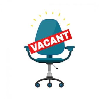 Lugar de silla de oficina vacante para el trabajo. dibujos animados modernos moda elegante personaje plano ilustración icono signo. contratación y contratación de empresas. aislado en blanco