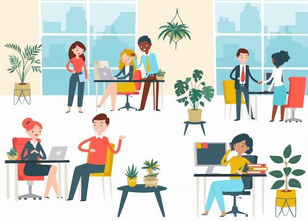 Lugar de taller público, espacio de coworking personaje empresa personas hombre mujer trabajo corporación empresa ilustración de dibujos animados.