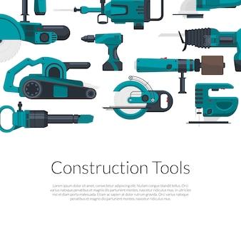 Lugar para texto con conjunto de herramientas de construcción eléctrica.