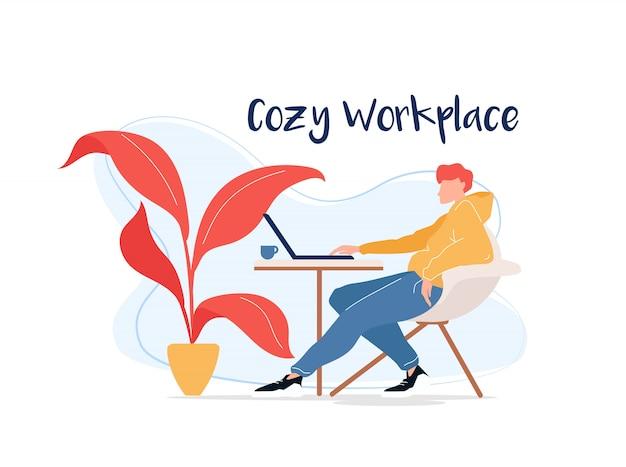 Lugar de trabajo acogedor carácter sin rostro de color plano