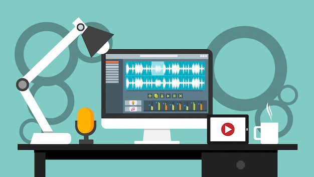 Lugar de trabajo de la aplicación de software de interfaz de editor de sonido y video en un monitor de computadora