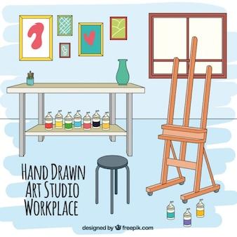 Lugar de trabajo artístico dibujado a mano