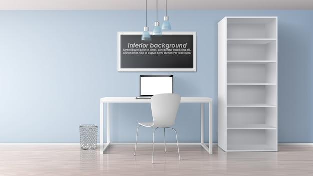 Lugar de trabajo en casa en la habitación del apartamento interior minimalista 3d realista vector maqueta. marco de pintura con texto de muestra debajo de la mesa de trabajo con computadora portátil, silla y estante con ilustración de estantes vacíos