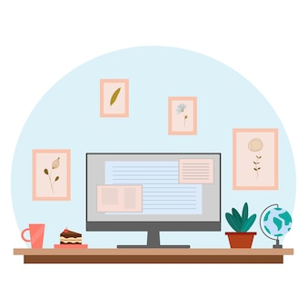 Lugar de trabajo en casa oficina en casa y trabajar desde el concepto de hogar interior para autónomo con computadora
