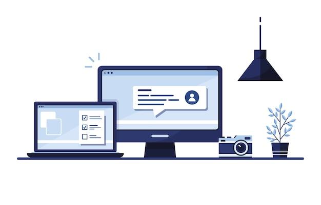 Lugar de trabajo en casa, en la oficina. ordenador portátil. formulario de solicitud completado para el sitio. rellenando documentos. pantalla del monitor. azul