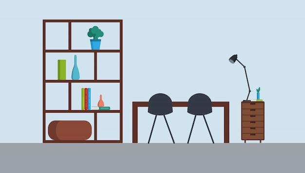 Lugar de trabajo colorido con muebles, lámpara. plantilla para el fondo, el cartel, la ilustración común de la bandera. estilo plano