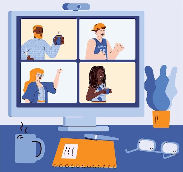 Lugar de trabajo con computadora con ilustración de dibujos animados de video conferencia en línea