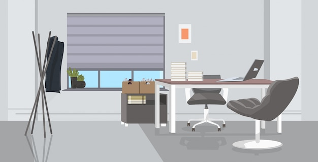 Lugar de trabajo creativo vacío sin gabinete de personas con mobiliario moderno interior de oficina