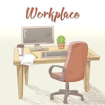 Lugar de trabajo dibujado a mano de diseñador gráfico profesional con mesa