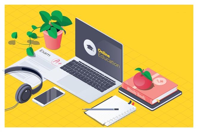 Lugar de trabajo para la educación en línea.