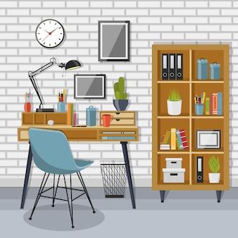 Lugar de trabajo y estantería con pared de ladrillo gris