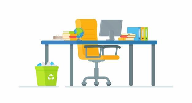 Lugar de trabajo del estudiante. ilustración del aprendizaje en línea. entrega de un resumen, una prueba o una tarea.