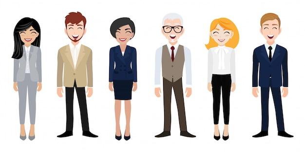 Lugar de trabajo feliz con sonriente personaje de dibujos animados de hombres y mujeres en ropa de oficina