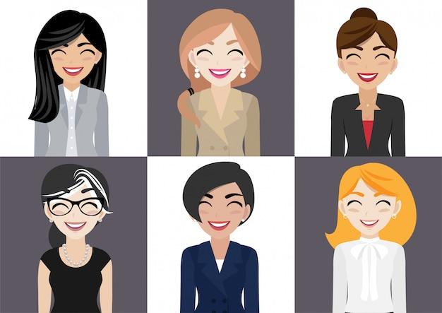 Lugar de trabajo feliz con sonriente personaje de dibujos animados de mujeres en ropa de oficina