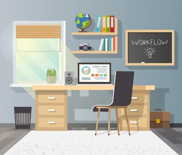 Lugar de trabajo en habitación soleada.