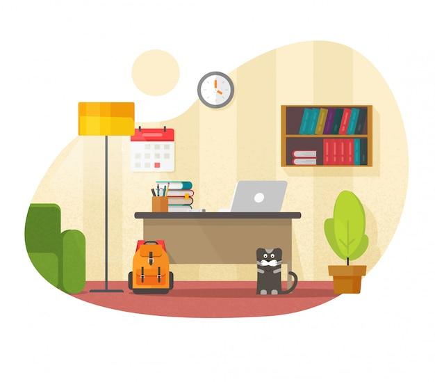 Lugar de trabajo interior de la oficina en casa con mesa escritorio vacío o escritorio lugar de trabajo sala con computadora portátil con nadie vista frontal ilustración de dibujos animados plana diseño moderno, aprendizaje, espacio de trabajo de estudio