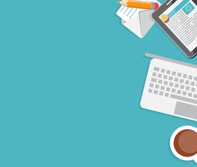Lugar trabajo interior oficina moderna diseño plano ilustración vectorial eps10