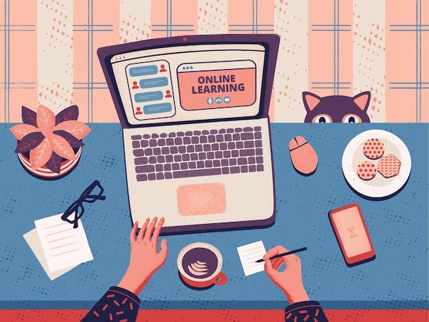 Lugar de trabajo con laptop. concepto de plataforma de educación en línea y e-learning.