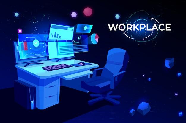 Lugar de trabajo con mesa de computadora