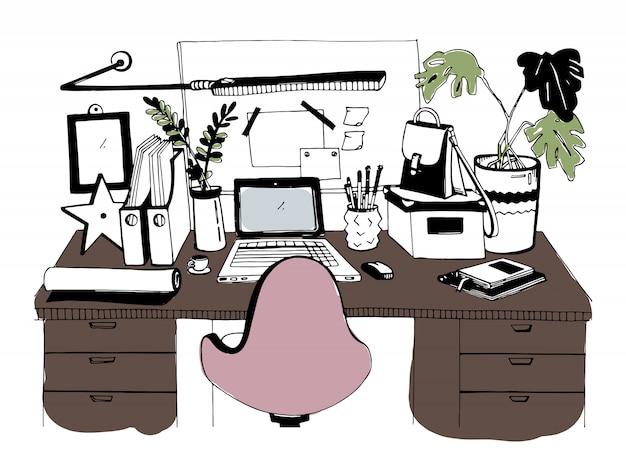 Lugar de trabajo moderno creativo con laptop, ilustración dibujada a mano, estilo boceto.