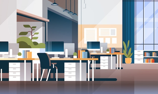 Lugar de trabajo moderno gabinete sala oficina interior banner