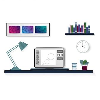 Lugar de trabajo moderno en la habitación, oficina de trabajo con escritorio, computadora portátil, estantería, reloj de pared, flores y un vaso de café. trabajo independiente.