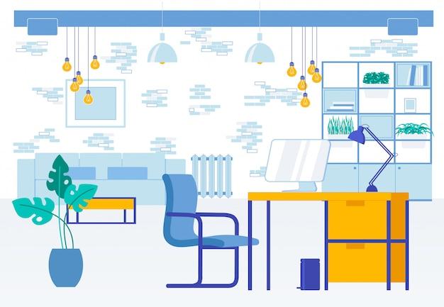 Lugar de trabajo moderno oficina sala interior plano dibujos animados
