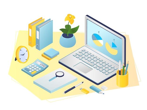 Lugar de trabajo, oficina, gabinete de negocios. sala de oficina con computadora portátil, documentos, bolígrafos, calculadora y planta. objetos del lugar de trabajo, equipos para trabajadores a domicilio.