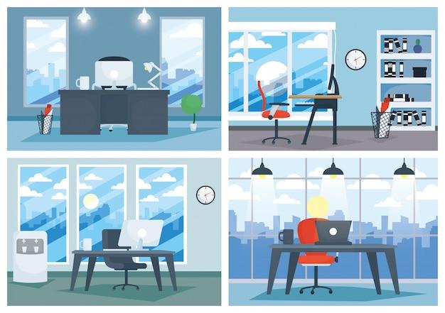 Lugar de trabajo de oficina con laptop y escritorio