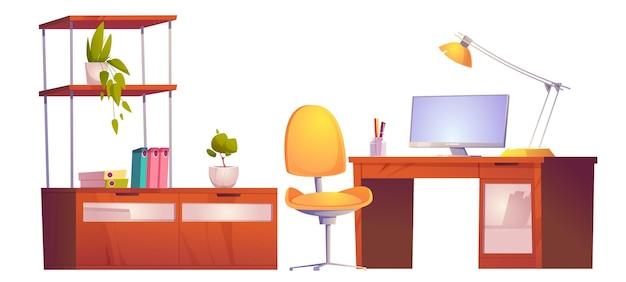 Lugar de trabajo de oficina o hogar con silla de monitor de escritorio