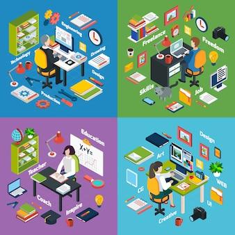 Lugar de trabajo profesional iconos isométricos cuadrados