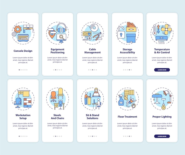 Lugar de trabajo seguro y saludable para los trabajadores que incorporan la pantalla de la página de la aplicación móvil con conceptos establecidos