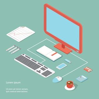 Lugar de trabajo de vector en estilo plano que muestra un escritorio de oficina con una computadora de escritorio con cable, calculadora de teclado y mouse, tarjeta de banco de café y bolígrafos con un gráfico analítico