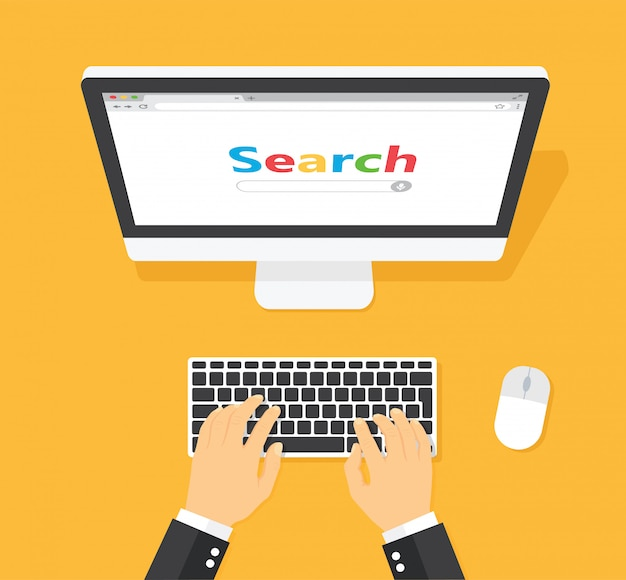 Lugar de trabajo con ventana de búsqueda de computadora en pantalla