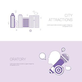 Lugares de interés de la ciudad y concepto de oratoria banner