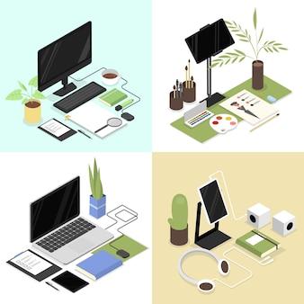 Lugares de trabajo isométricos con suministros de oficina como computadora portátil, taza, tableta, mouse, auriculares y otros. diseñador, oficinista y espacio de trabajo para estudiantes