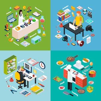 Lugares de trabajo profesiones 2x2 composiciones isométricas