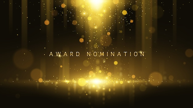 Lujo de la ceremonia de nominación del premio vector con destellos dorados y bokeh