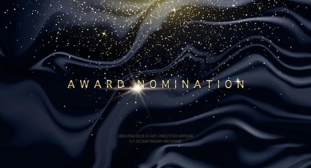 Lujo de la ceremonia de nominación del premio vector con destellos dorados y ondas negras