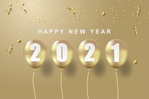 Lujo feliz año nuevo 2021 con globo sobre fondo dorado.