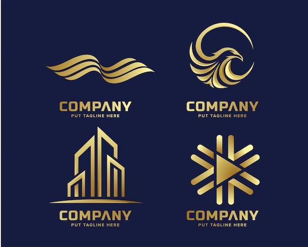 Lujo del negocio de oro y elegante plantilla de logotipo con forma abstracta
