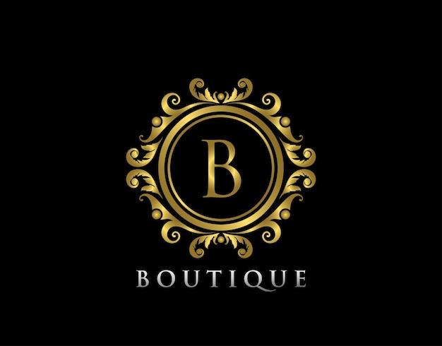Lujo oro boutique b letra logo carta sello boutique hotel joyería heráldica boda