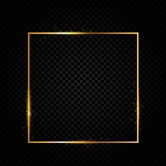 Lujo de oro brillante abstracto del marco en fondo transparente.