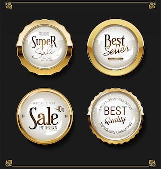 Lujo retro insignias colección de vectores de oro y plata