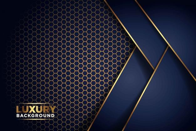 Lujosa superposición de línea de oro azul marino oscuro con combinación de patrón de malla hexagonal. elegante fondo futurista moderno