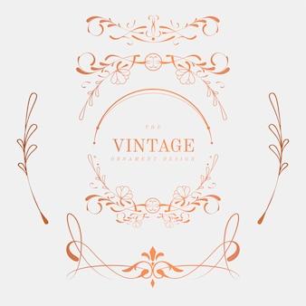 Lujoso conjunto de vectores vintage art nouveau insignia