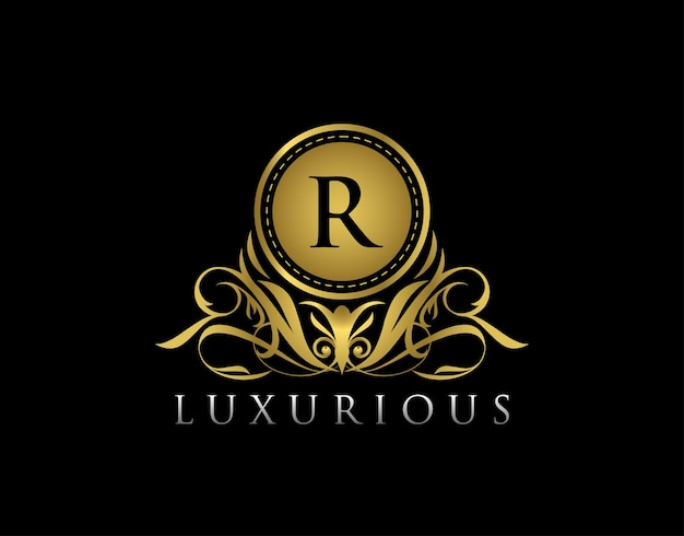 Lujoso diseño de insignia floral dorada para royalty letter stamp boutique hotel heráldica joyería boda