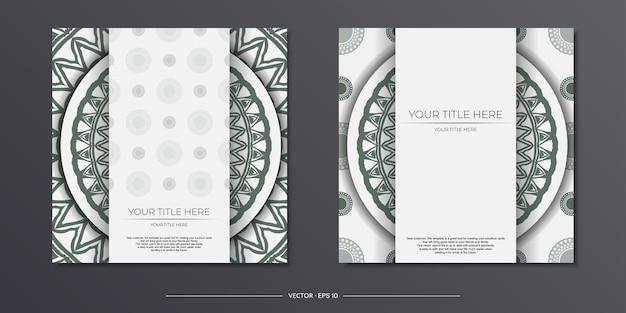 Lujoso diseño de postal en blanco listo para imprimir con ornamentos griegos oscuros. plantilla de invitación con espacio para texto y patrones vintage.